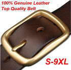 Retro brass buckle Mens Belt 100% Genuine Leather Casual Belt Waist size 30-48""