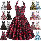 Retro Floral Women's Dress 40s 50s Swing Pinup Evening Party Dress Rock N Roll