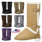 New Women's Mid Calf Twin Buckle Winter Snow Fur Faux Suede Fashion Boots!