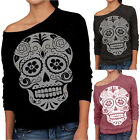 Women ladies autumn winter Skull Printing Off the shoulder Fashion Sweater tops