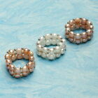5-6mm Bread Shape Freshwater Pearl With Silver Toned Fittings Ring,Size7.5