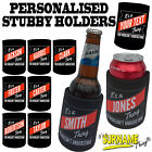 SURNAME STUBBY HOLDER - Beer Bottle gift present custom name family Stubbie