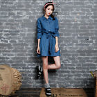 Women Casual Long Sleeve Mini Denim Dress Shirt Blouse Top with Laced Back