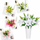 1 Bunch Artificial Lily Latex Real Touch Flower DIY Decor Bridal Bouquets Decor