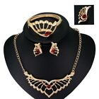 Elegant Luxury 18k Gold Plated Red Crystal Angel Wing Necklace Bracelet Earring