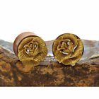Gold Orchid Flower Plugs Double Flare Tunnel Organic Wood Ear Plug Gauges