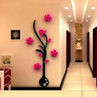 1pc 3D vaso fiore albero cristallo Arcylic Wall Stickers Decal Home camera decor
