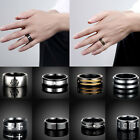 Fashion Jewelry Black Titanium Stainless Steel Band Ring Men Women Size 7-10