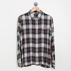 STUSSY CALI MENS STREETWEAR STANDARD PLAID BUTTON UP SHIRT TOP L XL WHITE RED