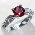 silver ruby - ADORABLE 1 CT RUBY ROUND CUT 925 STERLING SILVER RING SIZE 5-10