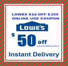 One Lowes $50 OFF $250 Online Promotion code Instant E-delivery Exp 2 25 2017