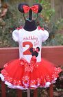 Minnie Mouse Birthday Girl Red White Polka Dot Birthday Outfit dress set 6m - 4T