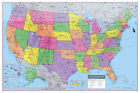 "USA United States Wall Map Poster 36""x24"" Rolled Paper, Laminated or Canvas"