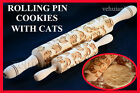 CATS Wooden Rolling Pin Cookie Vintage Handles Pattern Embossing Gift NEW