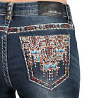 NEW~Grace In La Women's Easy Fit Aztec Stitch Boot cut Jeans - EB5940