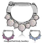 STEEL HINGED SEPTUM RING CLICKER WITH 7 MIXED SIZE OPALS ~ 1.2mm 16g