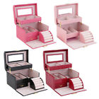 Jewelry Box Storage Organizer Case Ring Earring Necklace Holder Mirror Leather