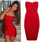 Celebrity Style Red Bandage Dress Bodycon Bandeau Mini UK,S,M,L