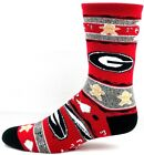 Georgia Bulldogs NCAA Adult Christmas Gingerbread Crew Socks Red