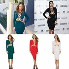 Sexy Women Clubwear Evening Cocktail Long Sleeve Bodycon Lace Up Party DressesC0