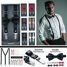 """Leather Suspender For Men with EasyGrip Clip and Leather Bow Tie Set, 1"""", Y-Back"""