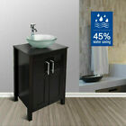 24'' Bathroom Vanity Single Cabinet Wood Top Vessel Sink Faucet Drain Mirror Set