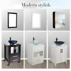 Bathroom Tempered Round Glass Vessel Sink Basin Bowl ORB Drain Faucet Combo
