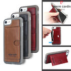 Pierre Cardin Genuine Leather TPU Bumper Case Card Slot Stand Cover For iPhone 7