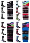 3 pair Mens Cotton Rich Honeycomb Top Stripe Stripey Striped Designer Socks 6-11