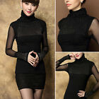 Women Casual Lace Blouse Knitted Shirt Long Sleeve Winter T-shirt Tops Black New