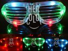 Slotted Shutter LED Flashing Shades Light Up Glasses 4Colors Options