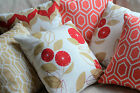 Outdoor Cushion Covers WATERPROOF Coral, Red, Beige Pillows Geometric Floral