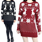 Womens Snow Reindeer Xmas Jumper Christmas Sweater Knit Pullover Tops Dress New