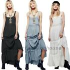 Summer Beach Cotton Full Length Garden Party Prom Long Maxi Peasant Slip Dress