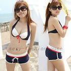 3pcs Bikini Swimsuit Swimwear Halter Underwire Triangle Shorts Boxer Brief New