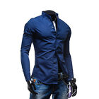 Men's Crease-Resist Shirt Long Sleeve Casual Dress Shirts Slim Fit Luxury Tops