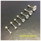 14k Solid Yellow real Gold Lady Children CZ Studs Basket Setting Round Screwback