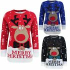 KNITTED MERRY CHRISTMAS NOVELTY JUMPER LADIES WOMENS PULLOVER TOP KIDS SWEATER