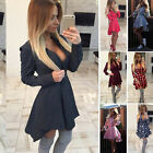 Fashion Womens Casual Long Sleeve Evening Party Cocktail Short Mini Dress Summer