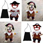 Pet Small Dog Cat Pirate Costume Outfit Jumpsuit Halloween Party Jacket Hat LJ