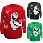 Kids Boy Girl Knitted Olaf Jumper Christmas Xmas Novelty Top Chunky Knit Sweater