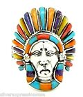 925 Sterling Silver Indian Chief Theme Men's Ring in Multicolor Inlay Size 10-13