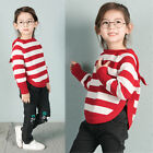 Toddler Baby Kids Girls Winter Warm Sweater Bat Jersey Knit Hooded Tops Pullover