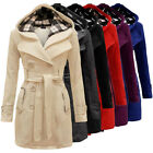 Women Warm Winter Hooded Trench Coat Lady Wool Long Morden Outwear Jacket