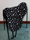 SADDLE COVER Ride on black with white stars, polar fleece saddle cover