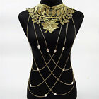 Lace Bodychain Women Flower Collar Choker Gold Hollow Gothic Big Necklace Party