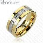 two tone wedding bands - Men's Solid Titanium Gold IP Two-Tone Cubic Zirconia Comfort Fit Wedding Band