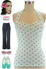 50s Style PINUP MINT on White POLKA DOT Halter Top with Lightly Padded Cups