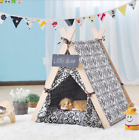 Removable and Washable Canvas Pet Kennels Dog Cat Teepee Play Tent House Bed