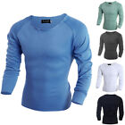 Casual Mens Slim Fit Long Sleeve Cotton T-shirt Casual Shirt Fashion Tops
